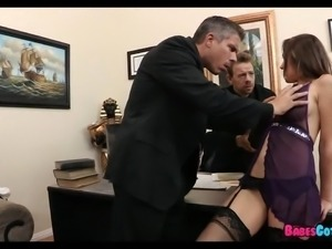 She takes 2 Cocks at the Office