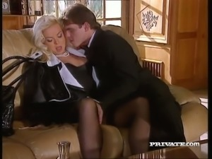 Sextractive blonde mistress Silvia Saint fucks a lawyer in the living room
