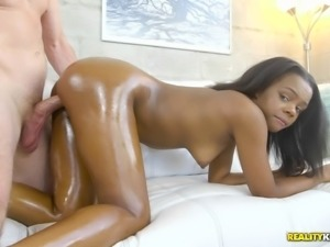 Haylee Wynters is a cute ebony babe in need of a hunk's boner