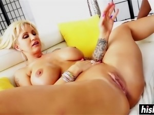 Incredible blonde babe gets her asshole penetrated by a big black cock