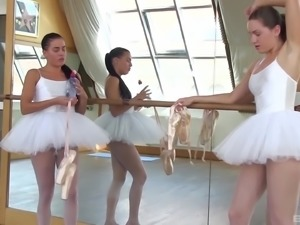Cute ballerinas toying their cunts in the bathroom sexily