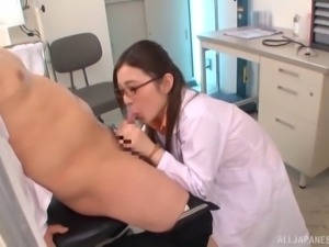 sweet nurse with glasses rides her partner's huge dong