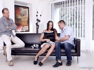 Naughty maid Mea Melone seduced by two pussy craving men