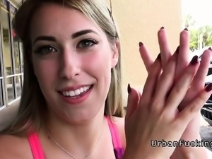 Gym babe banged in public place pov