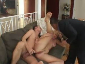 Beautiful and mature blonde housewife assfucked in front of her husband
