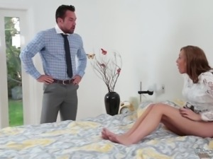 Attractive hottie Molly Manson blows tasty dick and lets her BF polish her twat