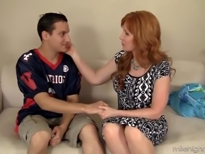 Big breasted red haired cougar Froya Fantasia is so into topping fat dick