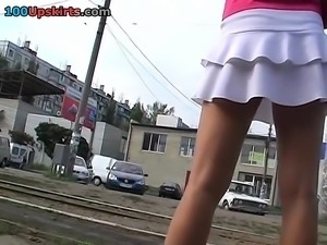 Schoolgirls with uniform upskirt voyeur