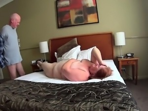 Chubby mature wife has a guy banging her twat on hidden cam