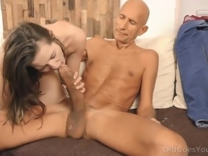 Dude blessed with a huge cock covers petite cutie with a huge load of fresh...
