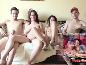 Hot pornstar foursome and cumshot