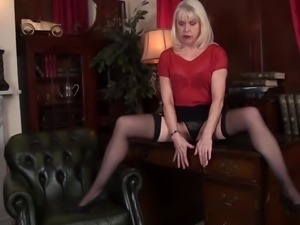 Kinky sensual fantasies of lusty blonde MILF Margaret Holt come true