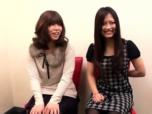 Two adorable Japanese teens share their need for hard meat