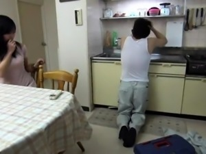 Hot Asian wife with a perfect ass gets fucked in the kitchen