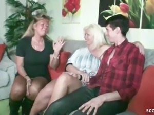 German step mom and aunt fuck son together at family time