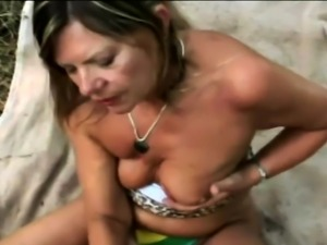Busty gilf Samantha is taken outdoors
